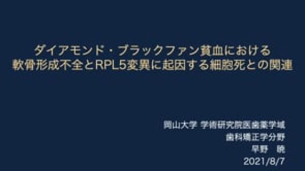 【O-29】ダイアモンド・ブラックファン貧血における軟骨形成不全とRPL5変異に起因する細胞死との関連